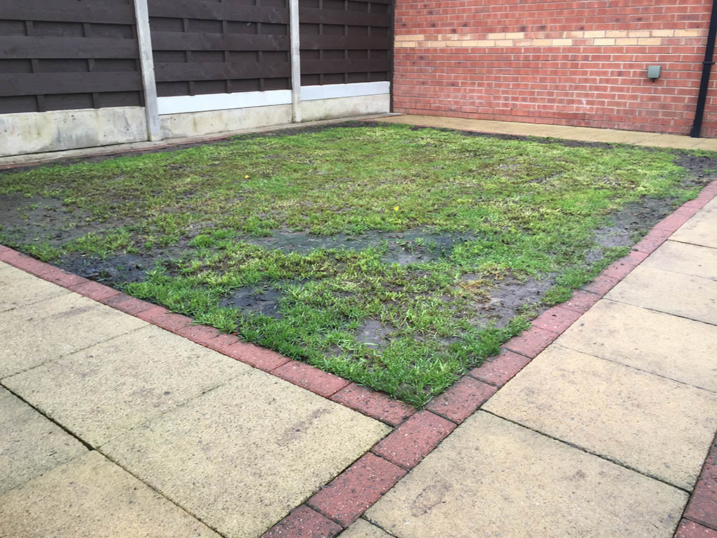 Back garden york north yorkshire polished artificial for Garden decking and grass