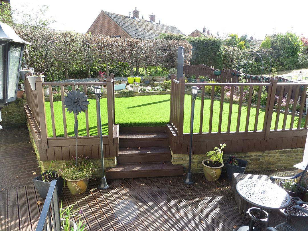 Garden Leeds Artificial Grass Over Decking - After