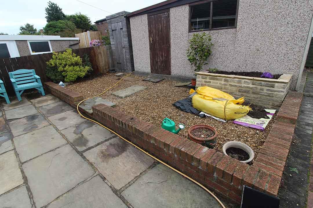 Back Garden - Harrogate before artificial grass - Polished Artificial Grass