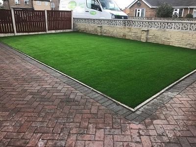 Small Front Garden Wakefield - after artificial grass - Polished Artificial Grass